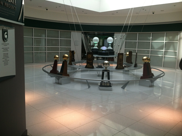 Michigan State University Breslin Student Events Center championship trophies display custom fabrication by Couturier Iron Craft, Inc.