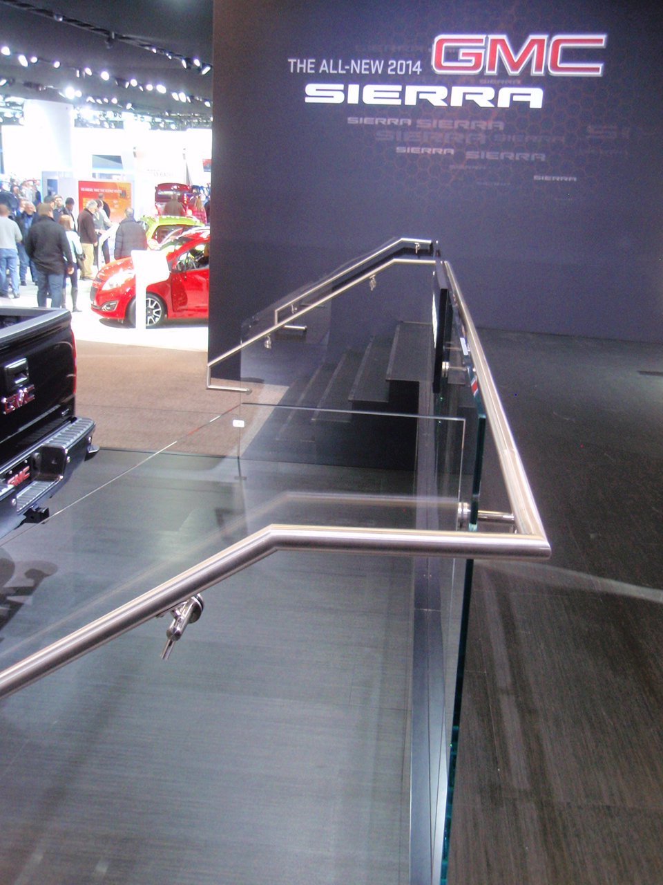 2014 General Motors Corp. International Auto Show Display, Glass & Stainless Steel Guard Railings.