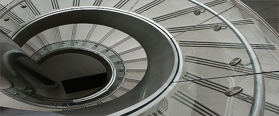 Circular Stairway with Glass Railings