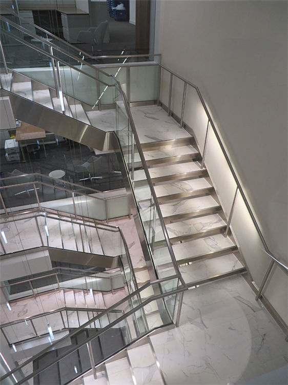 Stainless steel stair parts are custom fabricated for a quality finished product.