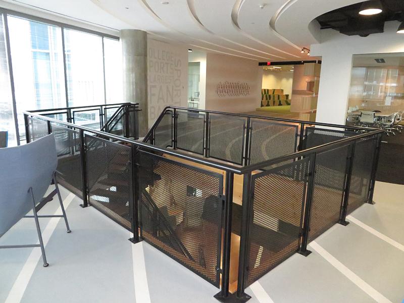 Decorative metal railings with perforated panel railings