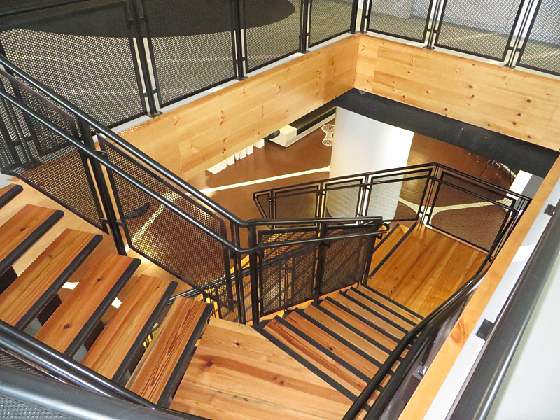 Innovative stair design at corporate office.