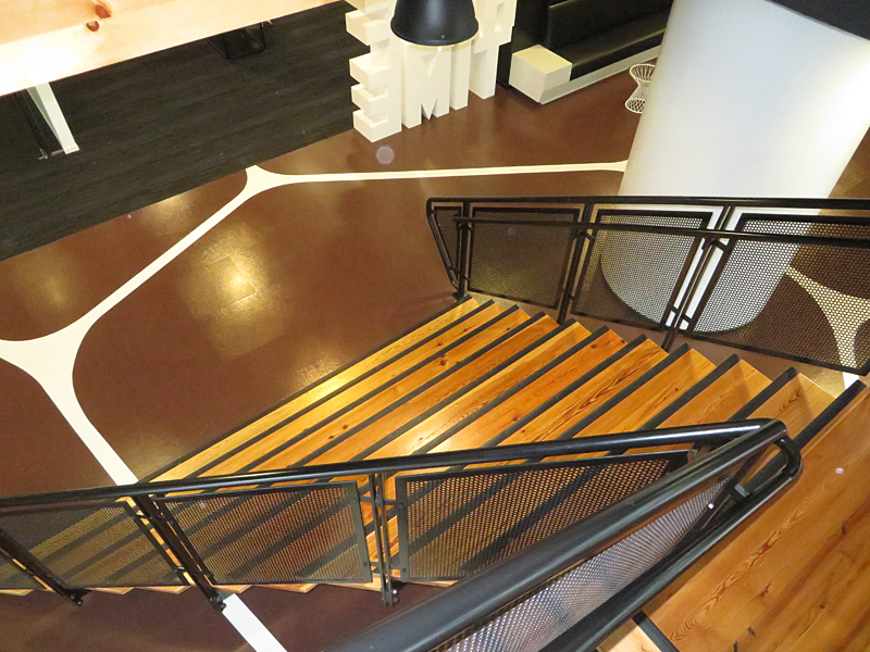 Flared stair decorative metal railings custom innovative stair design by couturier