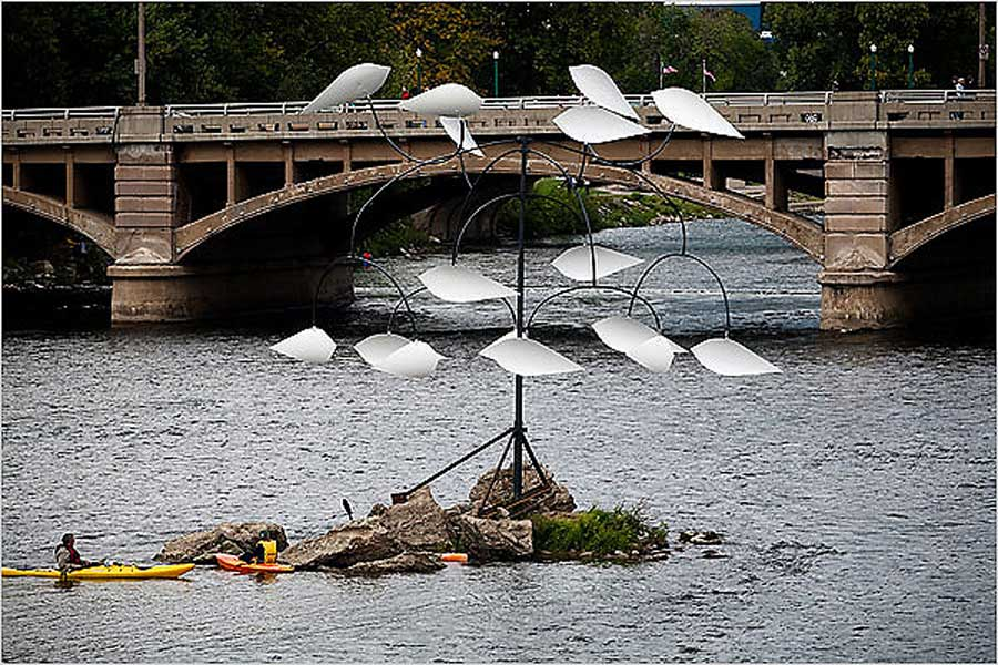 Grand Dance sculpture entry at the Grand Rapids Art Prize competition winning fourth place in the inaugural event.