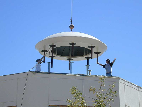 Picture taken as dome is set into place. The UFO has landed.