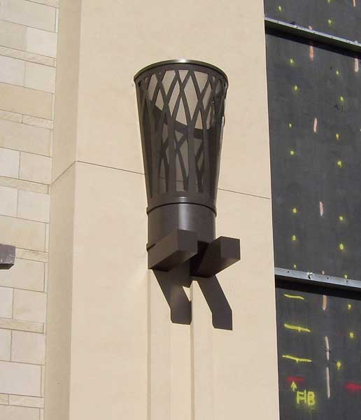 Aluminum wall sconce lighting unit custom designed for The Shops at Willow Bend, Plano, TX
