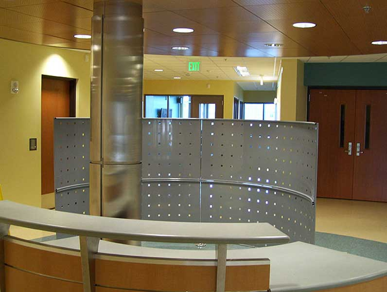 Stainless steel column cover with reveals