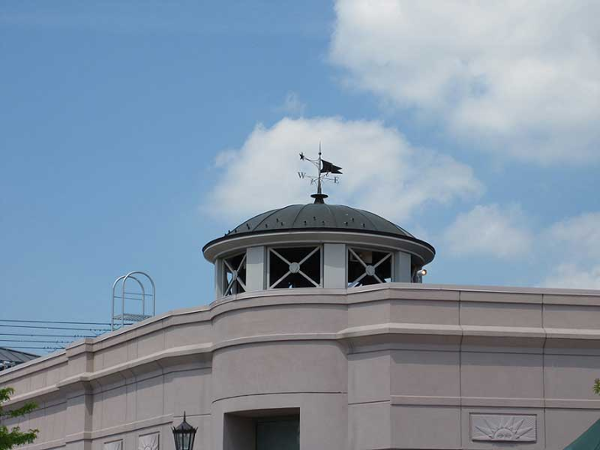 Custom fabricated aluminum ornamental dome with weather vane