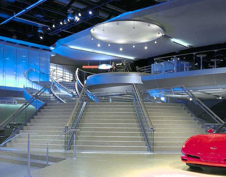 Custom staircase fabricator for show exhibits. International auto show Detroit, MI