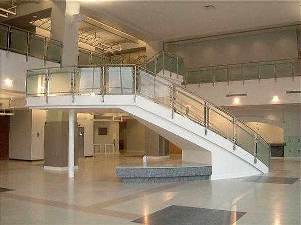 Custom fabricated staircase with stainless steel and glass railings