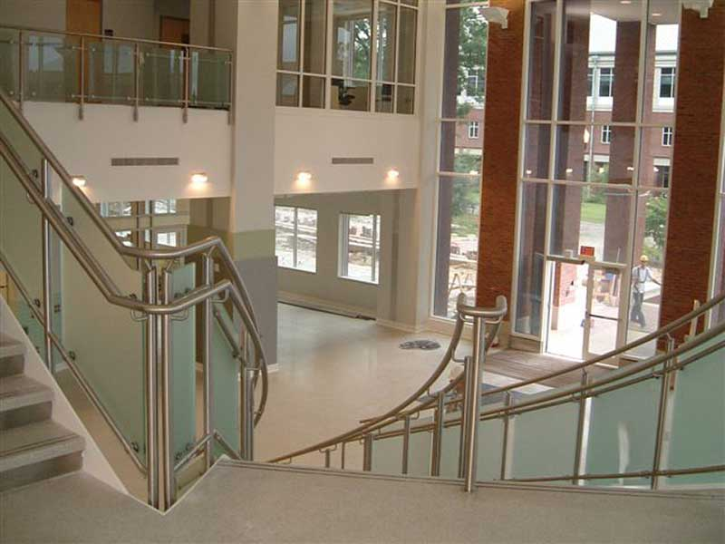 Custom fabricated stainless steel railings with satin finish