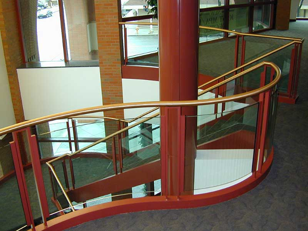 Curved glass guardrails at Cooley Law Building.