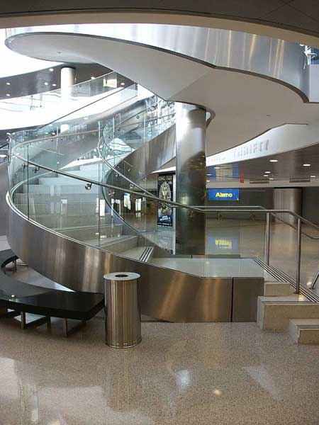 stainless steel caldding and handrail spiral stair.