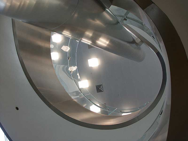 A view up through the center of the stringer on the double helix stair
