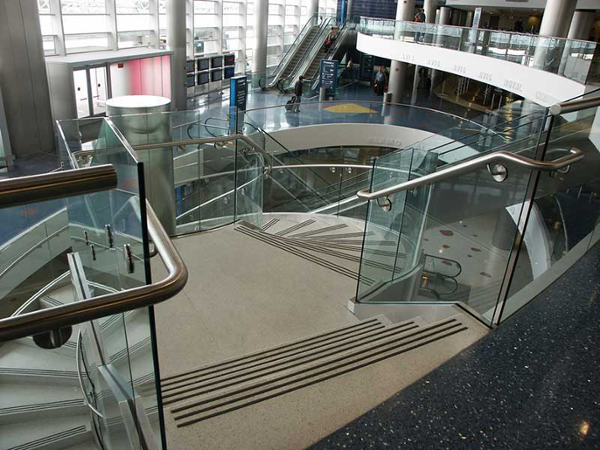 View of the top stairway as you begin to descend the ornamental stairway.