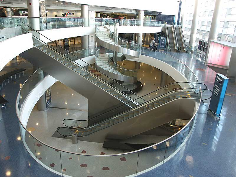 A view of the entire lobby and stairway opening.