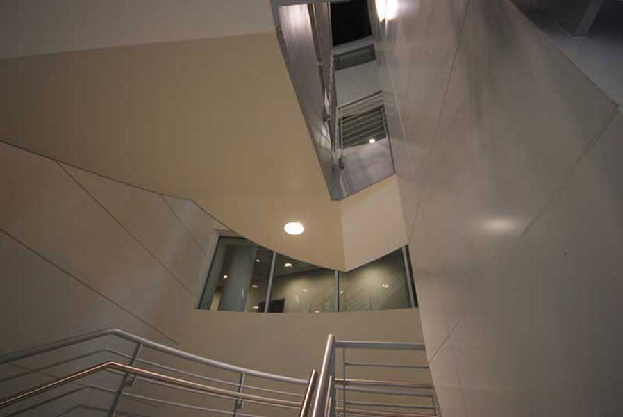 Decorative curve staircase is a focal point.