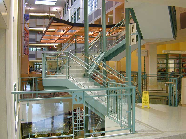 Decorative green painted straight stair