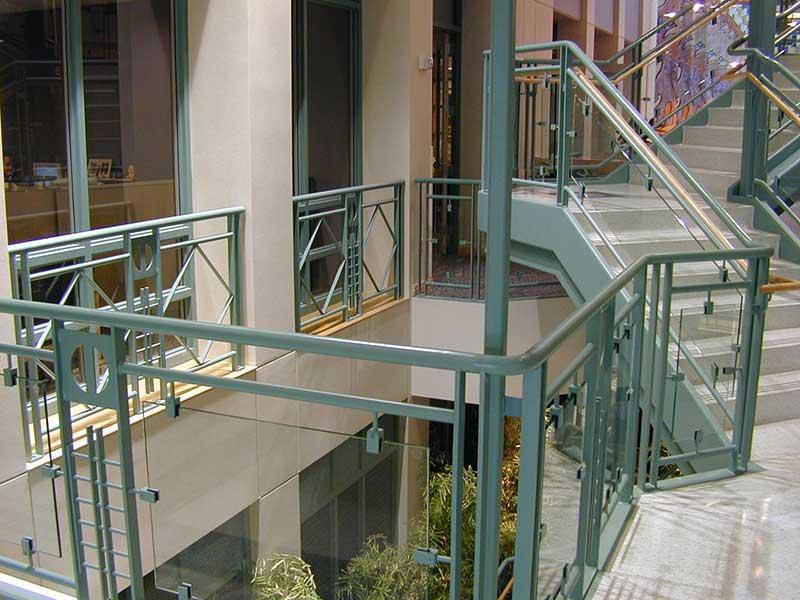 Decorative railings at stairway landing