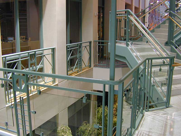 Decorative railings at stairway landing