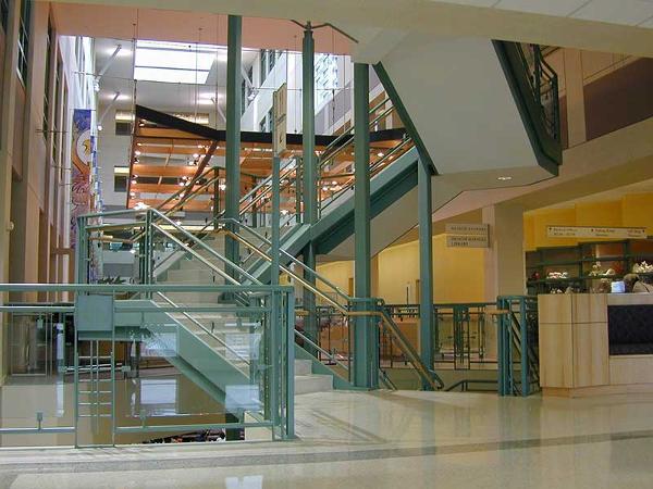 Ornamental stairway suspended from columns at Bronson hosp, Kalamazoo