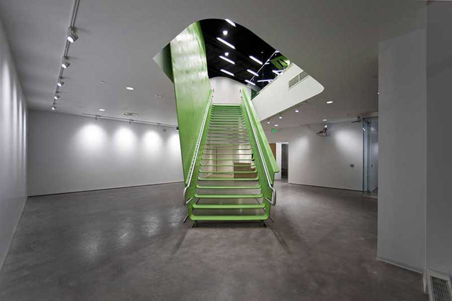 Boston Society of Architects, BSA Space Green Steel Staircase