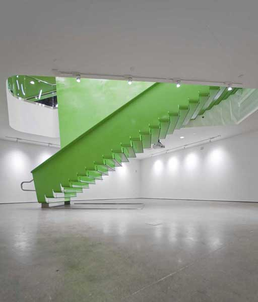BSA green stairway in large open space