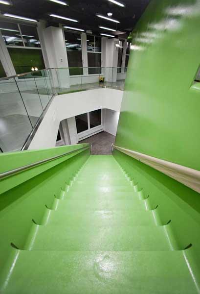 BSA staiirway looking down from the top step