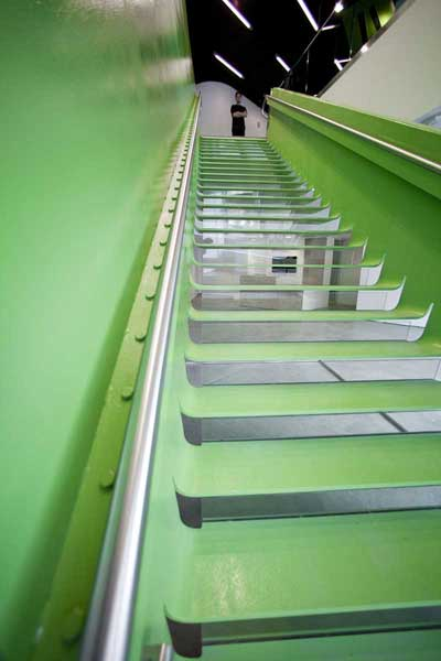 Boston Society of architects stainless steel handrail on decorative stair