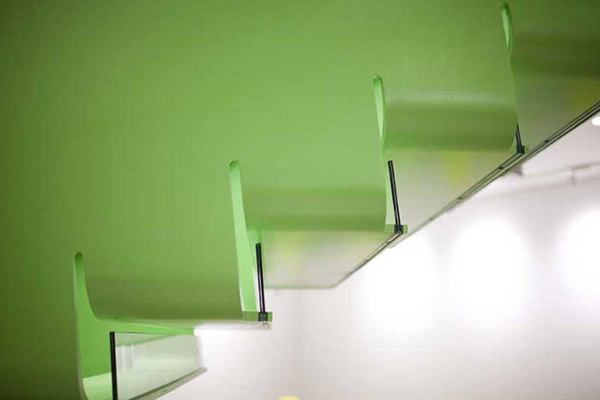 Tempered glass was used for the stairway risers