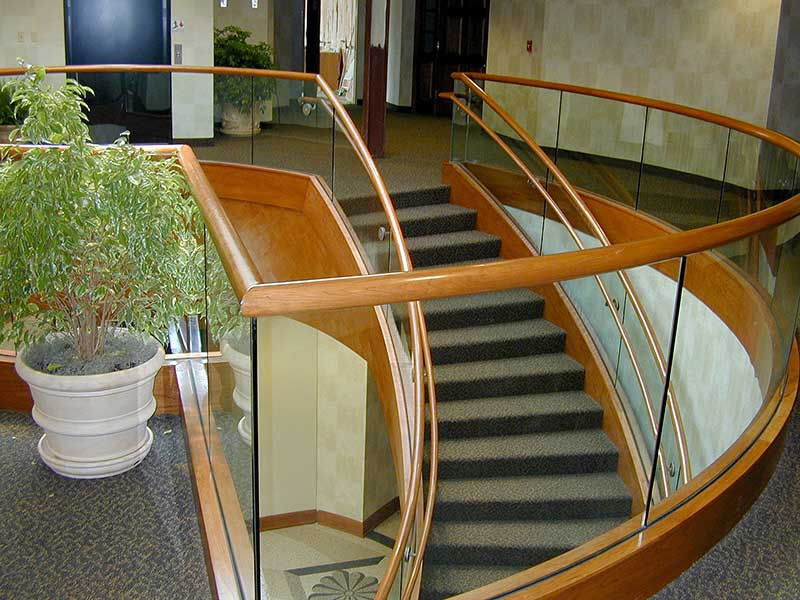 View of curved decorative stairway in the lobby