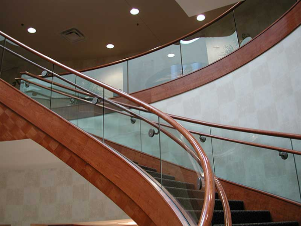 Clear tempered glass stair rails