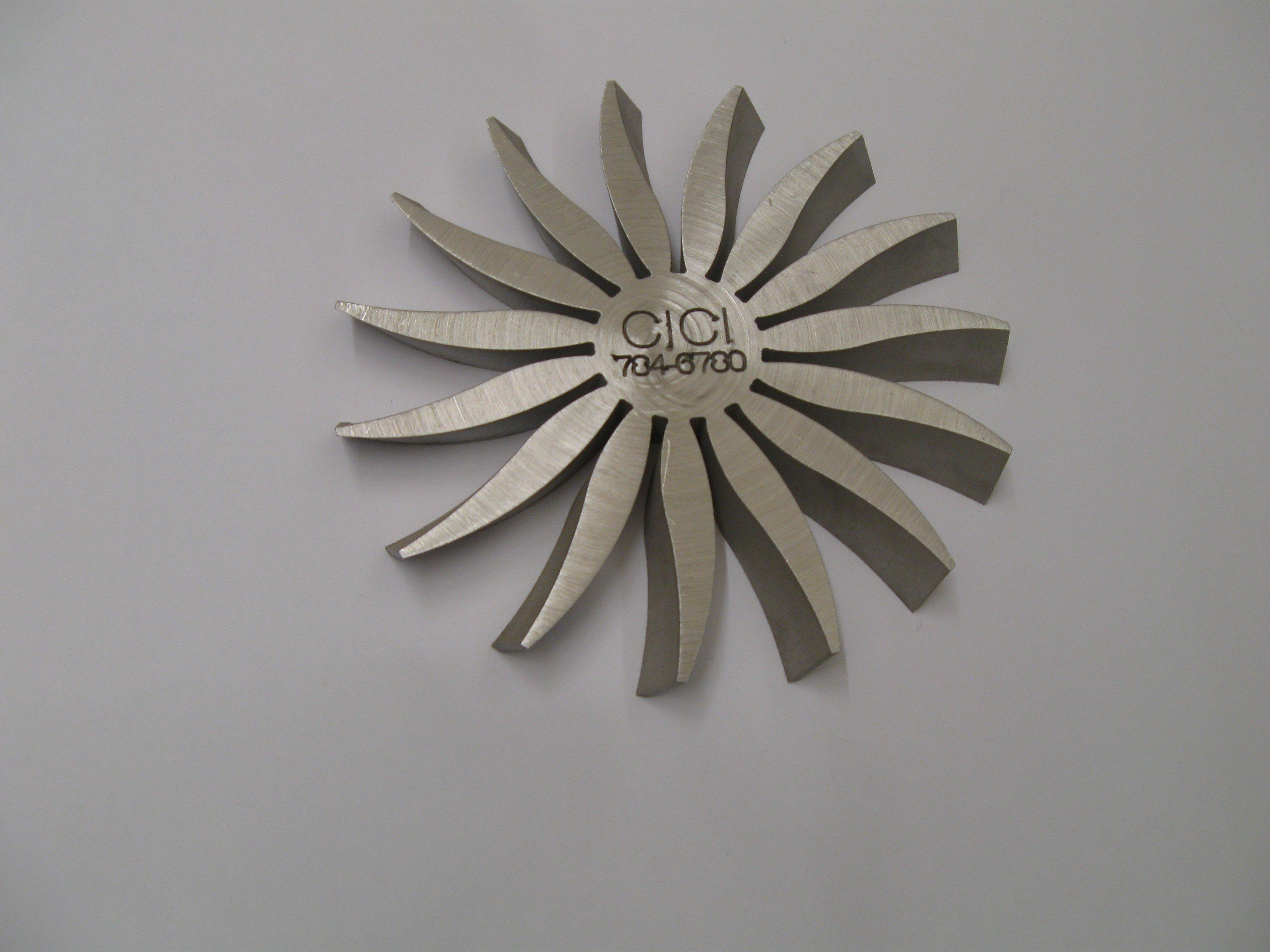 5 axis waterjet cutting stainless steel fan