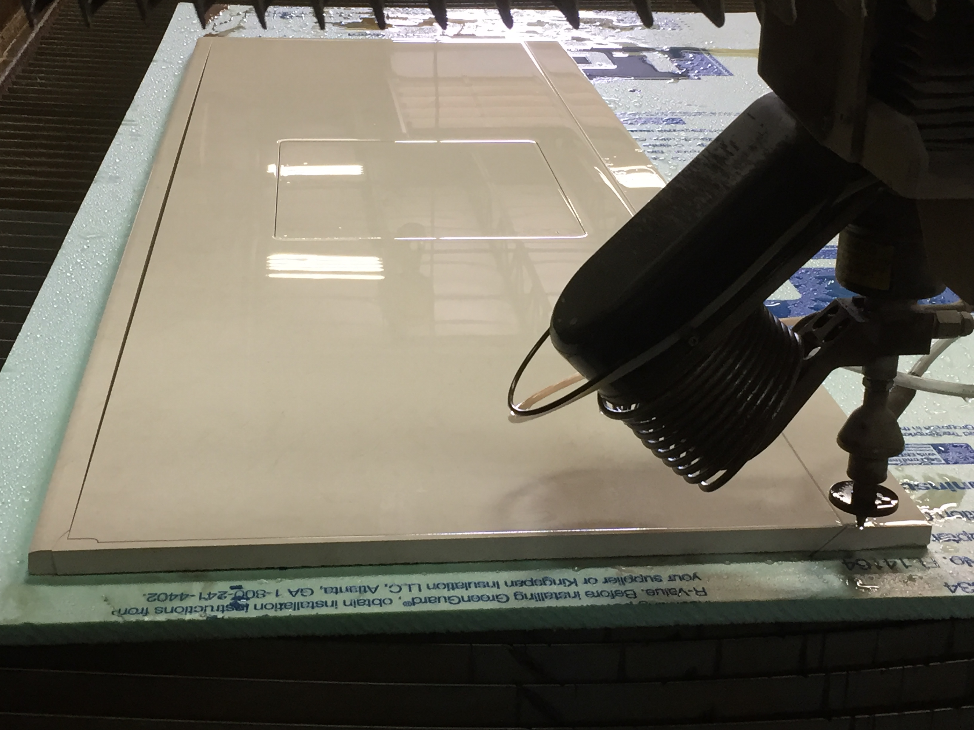 Waterjet cutting granite counter top